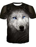 cheap Men's Tees & Tank Tops-Men's Club Basic / Street chic T-shirt - Color Block / Animal Wolf, Print Round Neck / Short Sleeve