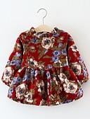 tanie Sukienki dla dziewczynek-Dziecko Dla dziewczynek Wzornictwo chińskie Geometric Shape Długi rękaw Bawełna Sukienka Czerwony / Brzdąc