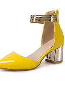 cheap Women's Skirts-Women's Shoes Patent Leather Spring Basic Pump Heels Chunky Heel Pointed Toe Yellow / Fuchsia / Pink / Party & Evening