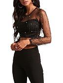 baratos Blusas Femininas-blusa feminina - decote redondo em cor sólida