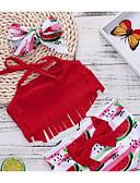 economico Vestiti per ragazze-Bambino Da ragazza Essenziale Sport Tinta unita / Frutta Con fiocco / Nappa / Lacci Senza maniche Cotone / Poliestere Costumi da bagno Rosso