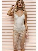 זול טרנינגים וקפוצ'ונים לנשים-עד הברך רשת, אחיד - שמלה צינור בסיסי בגדי ריקוד נשים