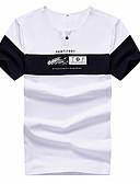 ieftine Maieu & Tricouri Bărbați-Bărbați Rotund - Mărime Plus Size Tricou Bumbac Bloc Culoare / Scrisă / Manșon scurt