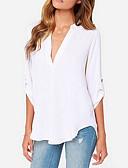 billige Skjorter til damer-Dyp V Bluse Dame - Ensfarget Grå