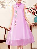 tanie Sukienki-Damskie Święto Wzornictwo chińskie / Wyrafinowany styl Swing Sukienka - Geometric Shape, Haft Kołnierz stawiany Midi / Lato