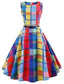 tanie W stylu vintage-Damskie Wyjściowe Vintage Bawełna Linia A Sukienka - Kratka Do kolan