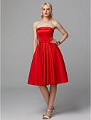 preiswerte Abendkleider-A-Linie Trägerlos Knie-Länge Satin / Stretch - Satin Cocktailparty Kleid mit Schleife(n) / Plissee durch TS Couture®
