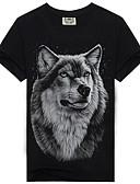 ieftine Maieu & Tricouri Bărbați-Bărbați Tricou Bloc Culoare / Animal Imprimeu Lup