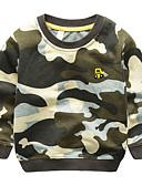 billige Hættetrøjer og sweatshirts til drenge-Børn Drenge Basale Daglig Farveblok Broderi Langærmet Normal Bomuld / Polyester Hættetrøje og sweatshirt Army Grøn