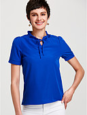 cheap Women's T-shirts-Women's Cute Basic Puff Sleeve Loose Blouse - Solid Colored Stand