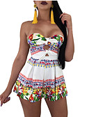 cheap Women's Jumpsuits & Rompers-Women's Going out Strapless White Wide Leg Romper, Rainbow XL XXL XXXL Sleeveless