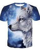 ieftine Maieu & Tricouri Bărbați-Bărbați Tricou De Bază / Șic Stradă - Bloc Culoare / Animal Imprimeu Lup