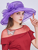cheap Fashion Hats-Women's Party / Holiday Bucket Hat / Floppy Hat / Straw Hat - Patchwork Ruffle