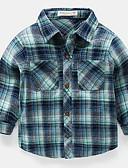 Χαμηλού Κόστους Βρεφικά Για Αγόρια μπλουζάκια-Μωρό Αγορίστικα Βασικό Καρό Μακρυμάνικο Πολυεστέρας Πουκάμισο Θαλασσί