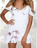 זול שמלות נשים-כתפיה מעל הברך שמלה גזרת A רזה בגדי ריקוד נשים / דפוסי פרחים