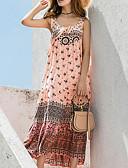 olcso Női ruhák-Női Tengerpart Bő Swing Ruha Maxi U-alakú