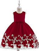 Χαμηλού Κόστους Φορέματα για κορίτσια-Παιδιά Κοριτσίστικα Βασικό / Γλυκός Καθημερινά / Σχολείο Μονόχρωμο Κοντομάνικο Ως το Γόνατο Βαμβάκι / Πολυεστέρας Φόρεμα Ρουμπίνι