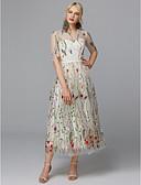 preiswerte Abendkleider-A-Linie Illusionsausschnitt Knöchel-Länge Spitze / Tüll Cocktailparty / Abiball Kleid mit Stickerei durch TS Couture®