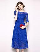baratos Vestidos Femininos-Mulheres Vintage / Moda de Rua Evasê Vestido - Renda, Sólido Médio