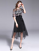 cheap Women's Dresses-SHIHUATANG Women's Street chic / Sophisticated A Line Dress - Floral Mesh / Embroidered