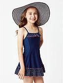 זול בגדי ים לבנות-בגדי ים ללא שרוולים שרוכים לכל האורך אחיד / מנוקד ליציאה בנות פעוטות / חמוד