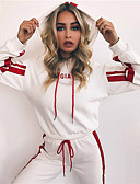 cheap Women's Nightwear-Women's Hoodie - Solid Colored / Striped / Letter Pant