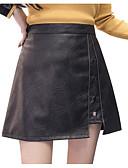 tanie Damska spódnica-Damskie Bawełna Bodycon Spódnice Solidne kolory Czarno-czerwony, Pofałdowany