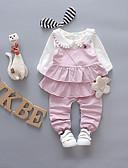 povoljno Kompletići za bebe-Dijete Uniseks Vintage Crno-bijela Jednobojni Drapirano Kratkih rukava Lan Komplet odjeće / Dijete koje je tek prohodalo