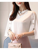 cheap Women's Blouses-Women's Blouse - Solid Colored Crane V Neck