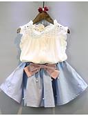 levne Dětské bundičky a kabátky-Děti Dívčí Základní Denní Jednobarevné Bez rukávů Krátké Standardní Bavlna Sady oblečení Bílá