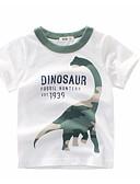 billige Topper til gutter-Barn Gutt Grunnleggende Daglig Trykt mønster Trykt mønster Kortermet Normal Bomull T-skjorte Hvit