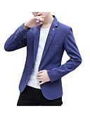 tanie Męskie koszule-Marynarka Męskie Biznes Biznesowy formalny Klapy wcięte Szczupła-Solidne kolory Bawełna Poliester Spandeks / Długi rękaw / Praca