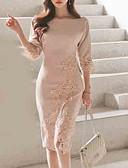 tanie Sukienki-Damskie Wyjściowe Szczupła Pochwa Sukienka - Jendolity kolor, Ćwiek Do kolan