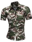 baratos Camisas Masculinas-Homens Camisa Social Básico camuflagem