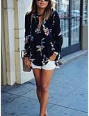 baratos Blusas Femininas-Mulheres Blusa Sólido Nadador / Padrões florais