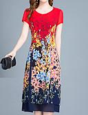abordables Camisas para Mujer-Mujer Boho / Sofisticado Vaina Vestido - Estampado Midi