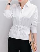 baratos Camisas Femininas-Mulheres Camisa Social Sólido Algodão Colarinho de Camisa