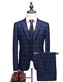 ieftine Polo Bărbați-Bărbați Petrecere / Zilnic Primăvara & toamnă Mărime Plus Size Regular Costume, Houndstooth Rever Clasic Manșon Lung Celofibră / Poliester Bleumarin XXXL / XXXXL / XXXXXL
