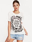 baratos Blusas Femininas-Mulheres Camiseta Moda de Rua Estampado, Letra Algodão / Primavera / Verão