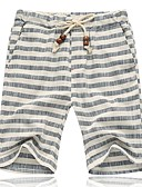 cheap Men's Pants & Shorts-Men's Plus Size Cotton / Linen Slim Shorts Pants - Striped