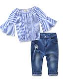 povoljno Kompletići za djevojčice-Djeca Djevojčice Aktivan Osnovni Dnevno Praznik Prugasti uzorak Nabori Rupica Rukava do lakta Regularna Spandex Komplet odjeće Plava