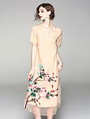 tanie Suknie i sukienki damskie-Damskie Święto Vintage / Wzornictwo chińskie Swing Sukienka - Kwiaty, Haft Midi / Lato