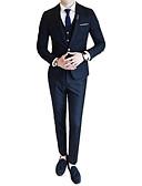 povoljno Muške majice i potkošulje-odijela Muškarci Karirani uzorak,Zašiljeni rever / Dugih rukava