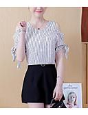 tanie T-shirt-Koszula Damskie Vintage, Frędzel Bawełna Solidne kolory / Prążki Bufka Czarno-biały