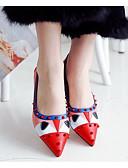 abordables Vestidos de Noche-Mujer Zapatos Cuero de Napa Primavera / Verano Confort Bailarinas Tacón Plano Rojo