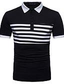 זול טישרטים לגופיות לגברים-פסים / קולור בלוק צווארון חולצה כותנה, טישרט - בגדי ריקוד גברים / שרוולים קצרים