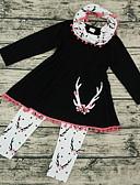 זול סטים של ביגוד לתינוקות-סט של בגדים שרוול ארוך אחיד בסיסי בנות תִינוֹק / פעוטות