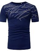 abordables Camisetas y Tops de Hombre-Hombre Básico Estampado - Algodón Camiseta, Escote Redondo Delgado Tribal Negro XL / Manga Corta