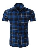 billige Herreskjorter-Skjorte Herre - Stripet / Ruter Grunnleggende