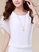 billige Bluser-kvinners bluse - solid farget rund hals